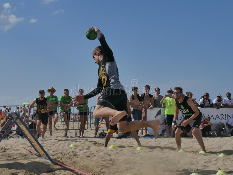 Beach TchoukBall Festival 2018 - Slam. Athletes playing in Beach Tchoukball Slam Tournament. The final match : The Zeroes Vs. De Chit Beach TchoukBall Festival stock photography