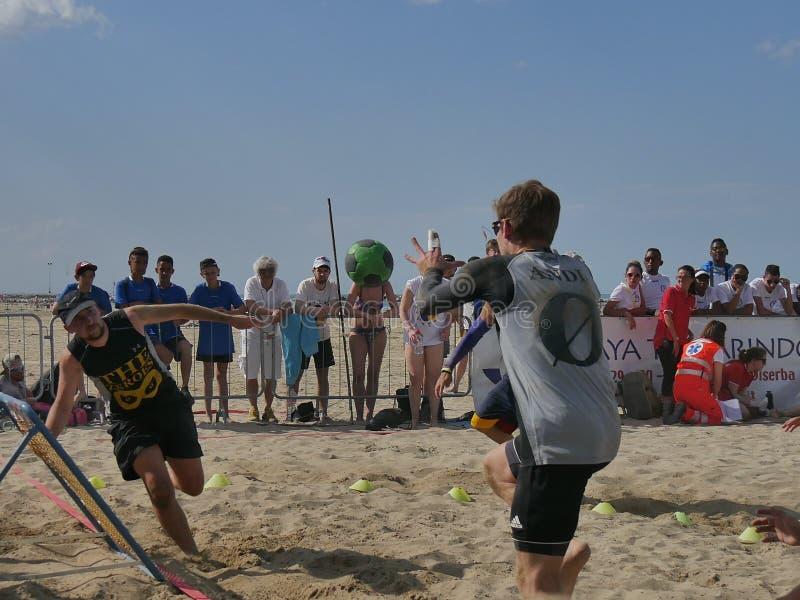 Beach TchoukBall Festival 2018 - Slam. Athletes playing in Beach Tchoukball Slam Tournament. The final match : The Zeroes Vs. De Chit Beach TchoukBall Festival royalty free stock photos
