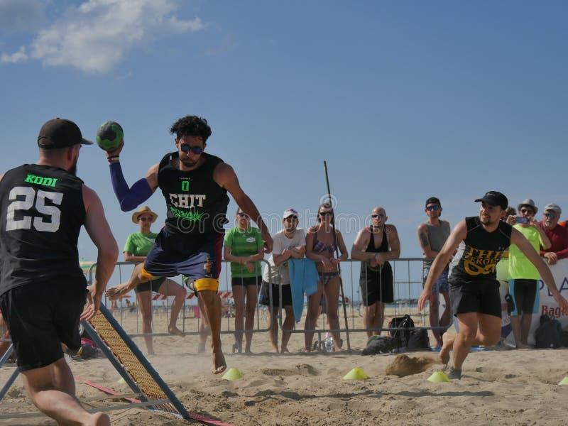 Beach TchoukBall Festival 2018 - Slam. Athletes playing in Beach Tchoukball Slam Tournament. The final match : The Zeroes Vs. De Chit Beach TchoukBall Festival stock image