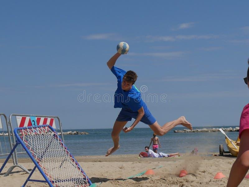 Beach TchoukBall Festival 2018 - Under. Athletes playing in Beach Tchoukball Under Tournament.nBeach TchoukBall Festival - Viserba Rimini - May 2018 stock image