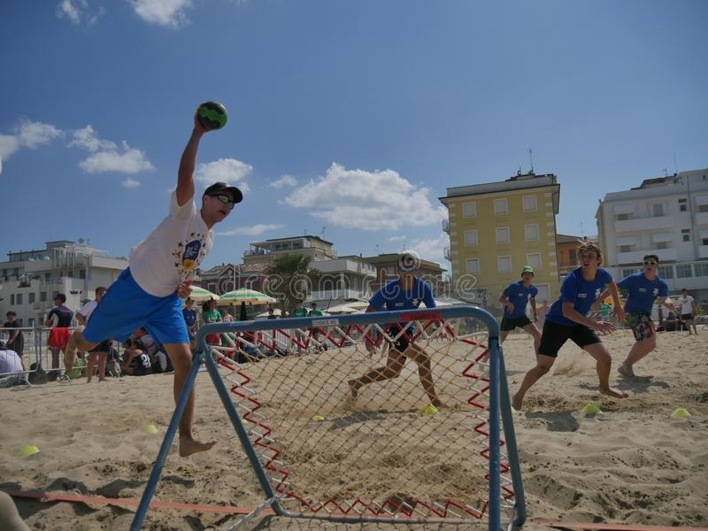 Beach TchoukBall Festival 2018 - Under. Athletes playing in Beach Tchoukball Under Tournament. Beach TchoukBall Festival - Viserba Rimini - May 2018 royalty free stock image