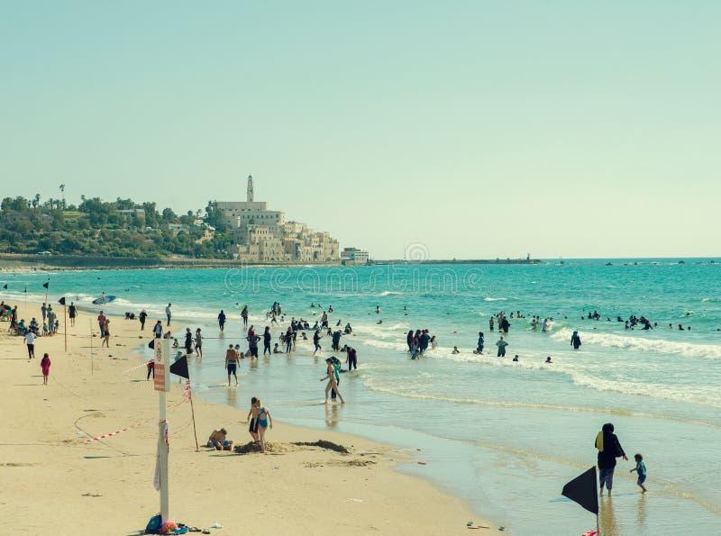 Beach in Tel Aviv royalty free stock photos