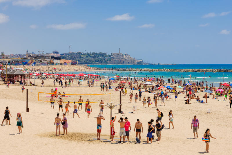The beach of Tel-Aviv and Jaffa royalty free stock image