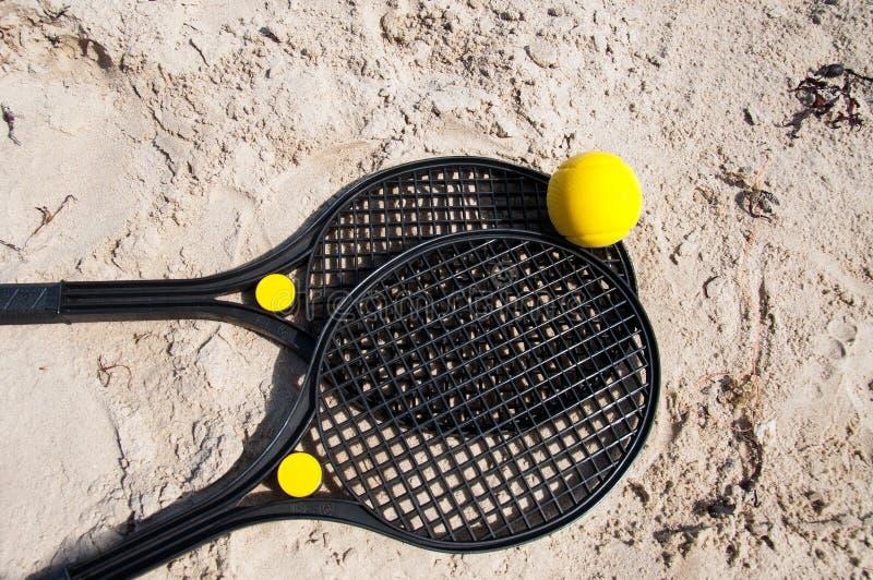 Beach tennis rackets royalty free stock photos