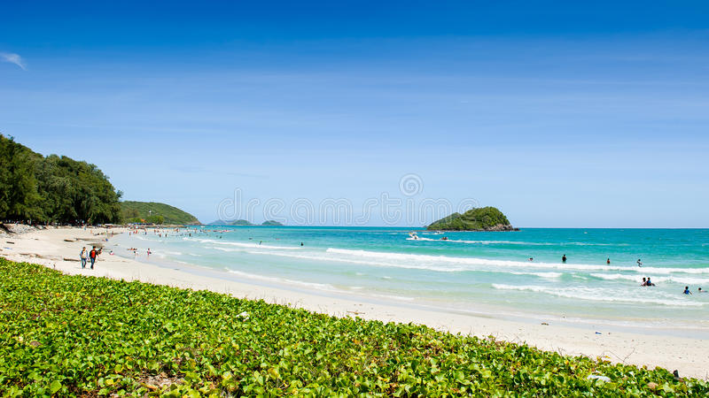 Beach in Thailand. Beautiful beach in Thailand with tourists on a regular basis royalty free stock images