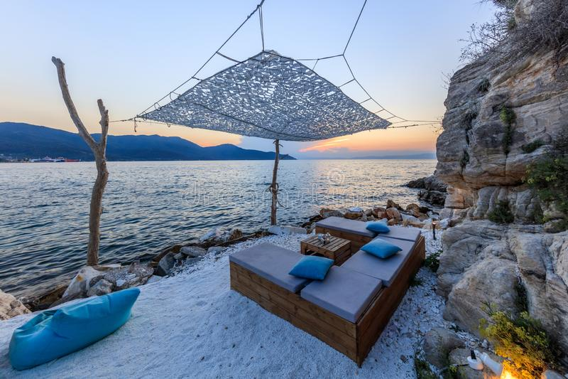Beach in Thassos, Greece. Beach in head of Evreokastro in Limenas. Thassos, Greece royalty free stock photos
