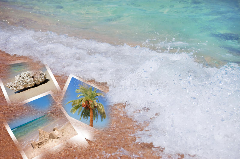 Beach theme collage composed of few photos. Tropic beach theme collage composed of few photos royalty free stock images