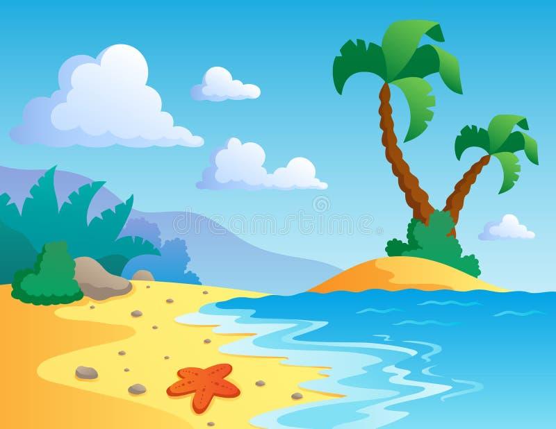 Beach theme scenery 1 vector illustration