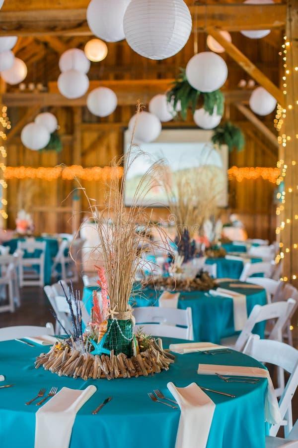 Beach Themed Ocean Wedding Reception Decorations. Cute, Fun, Handmade. Beach Themed Ocean Wedding Reception Decorations royalty free stock images
