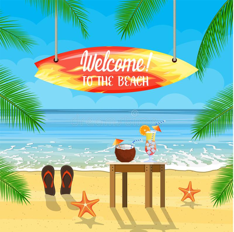 Beach things and surfboard summer holidays royalty free illustration