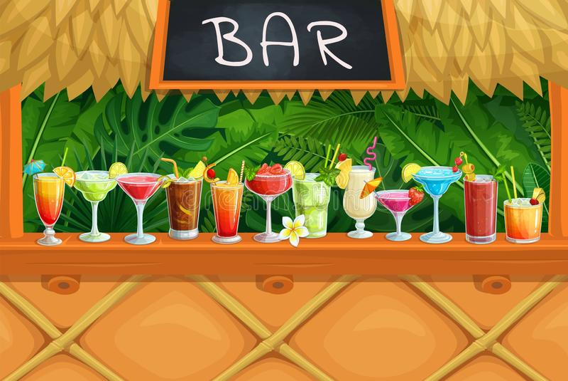 Beach tiki bar, alcoholic cocktails, royalty free illustration