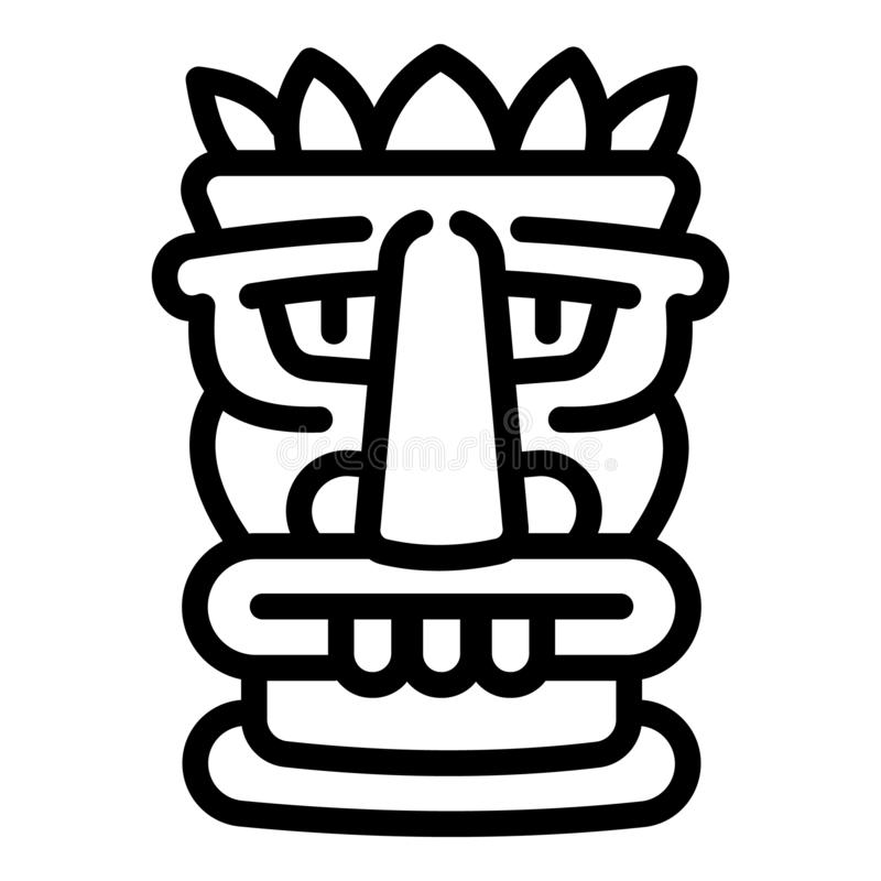 Beach tiki idol icon, outline style. Beach tiki idol icon. Outline beach tiki idol vector icon for web design isolated on white background royalty free illustration