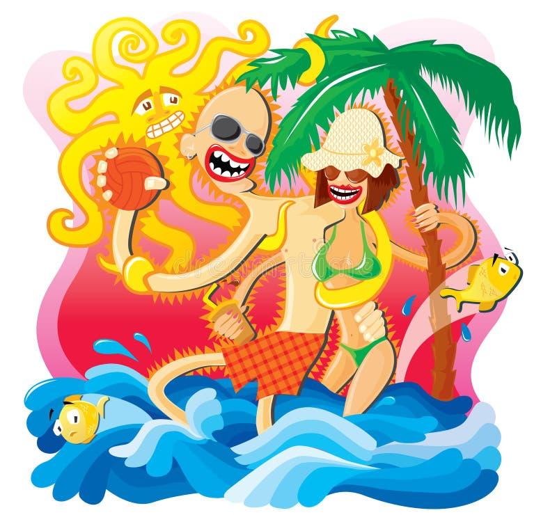 Beach time royalty free illustration