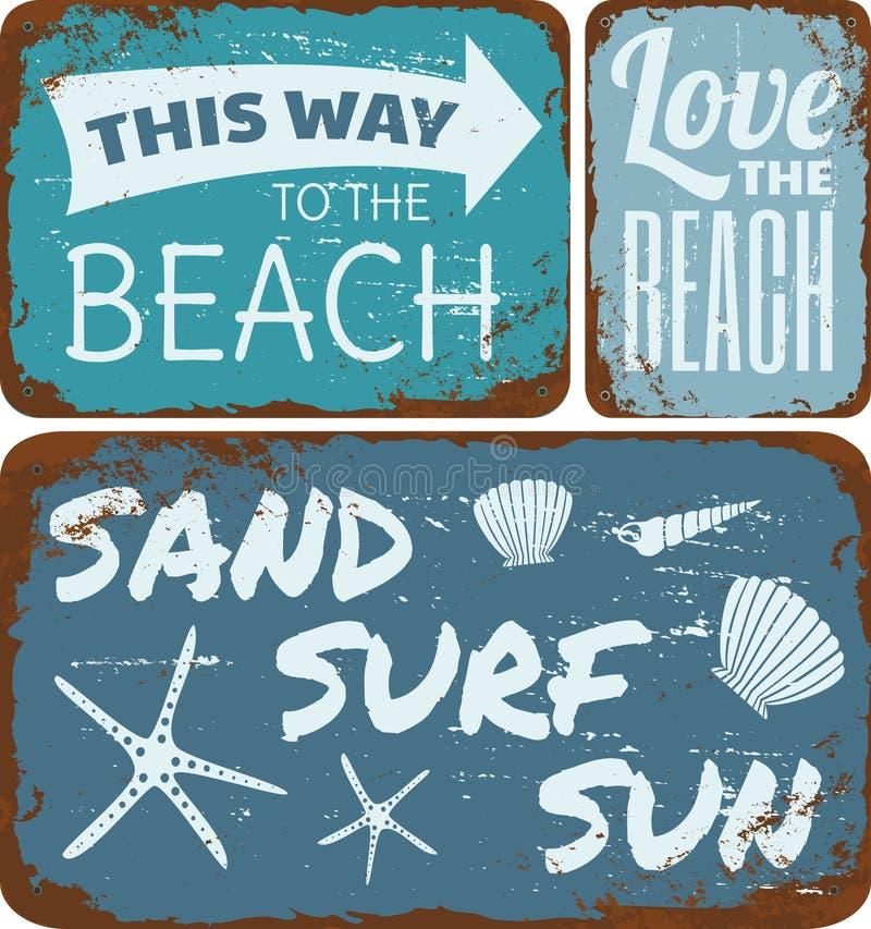 Beach Tin Signs Collection vector illustration
