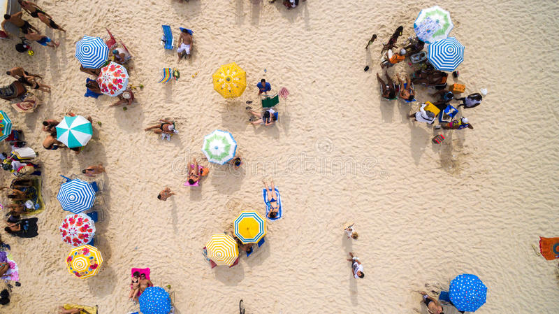 Beach on a top angle of view stock photography