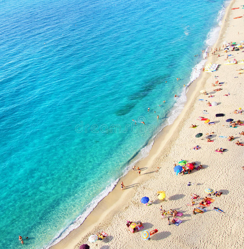 Beach top view stock photography