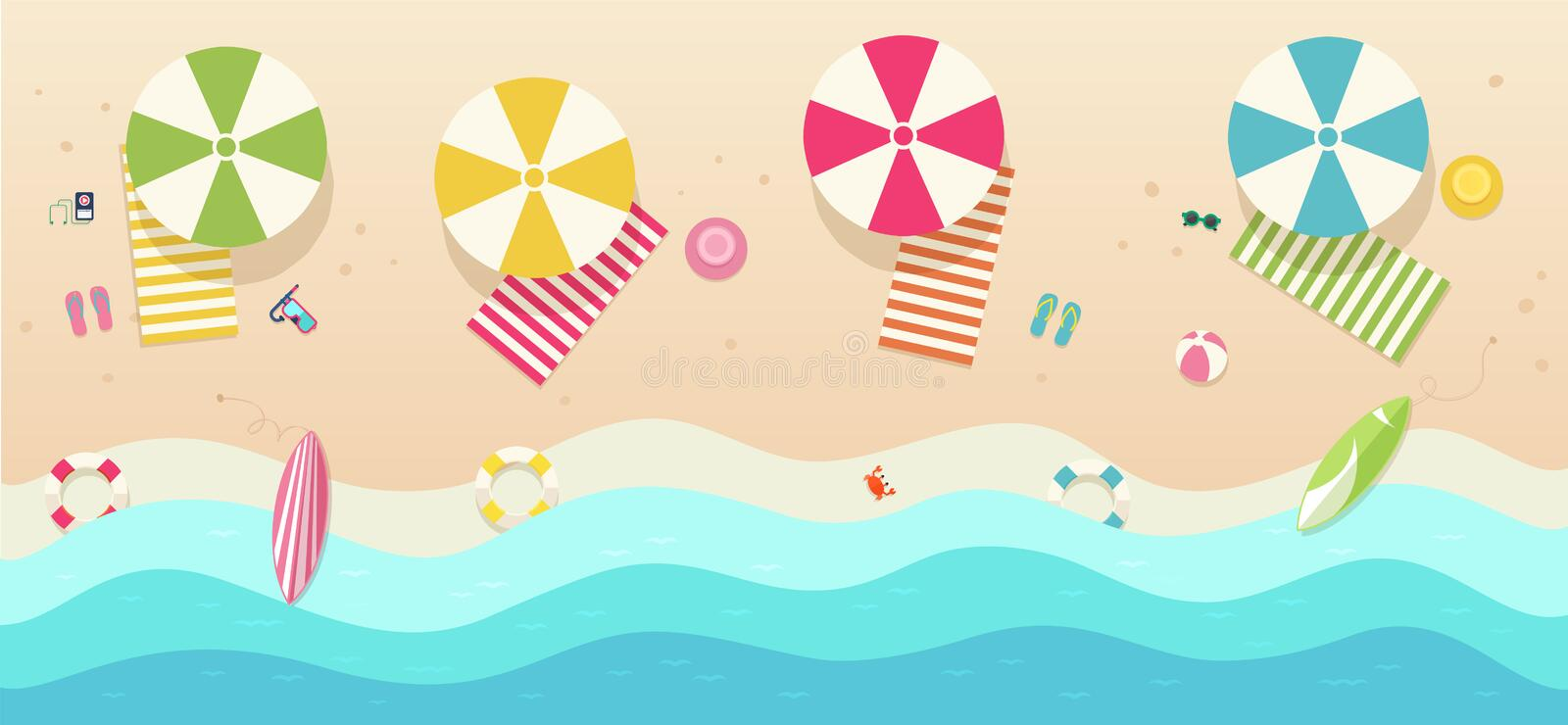 Beach, top view with umbrellas, towels, surfboards, sunglasses, hats, ball. stock illustration