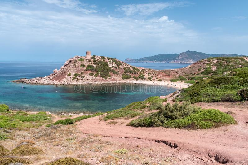 The beach of Torre del Porticciolo near Alghero, in Sardinia stock image