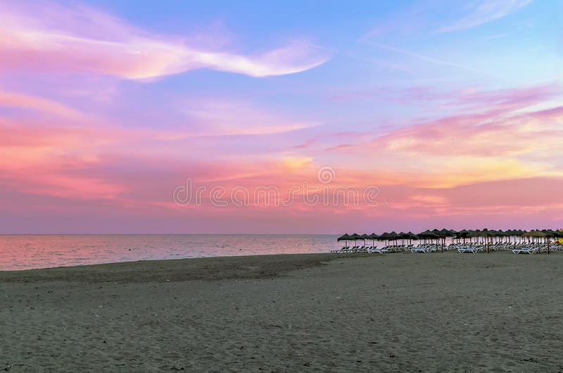 Beach in Torremolinos, Spain. stock images