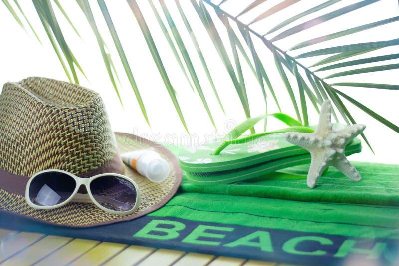 Beach towel on deck royalty free stock photo