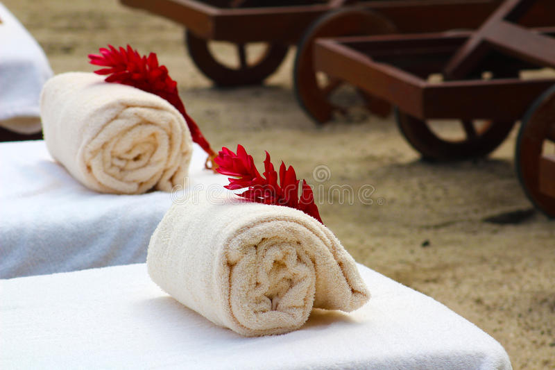 Beach towels at tropical resort stock photos