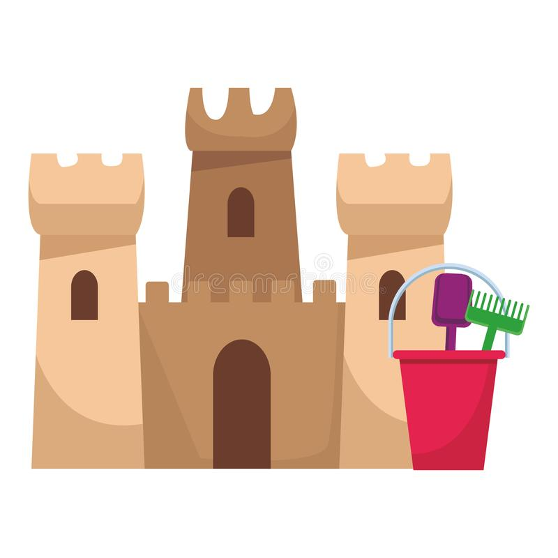 Beach toys and sand castle royalty free illustration