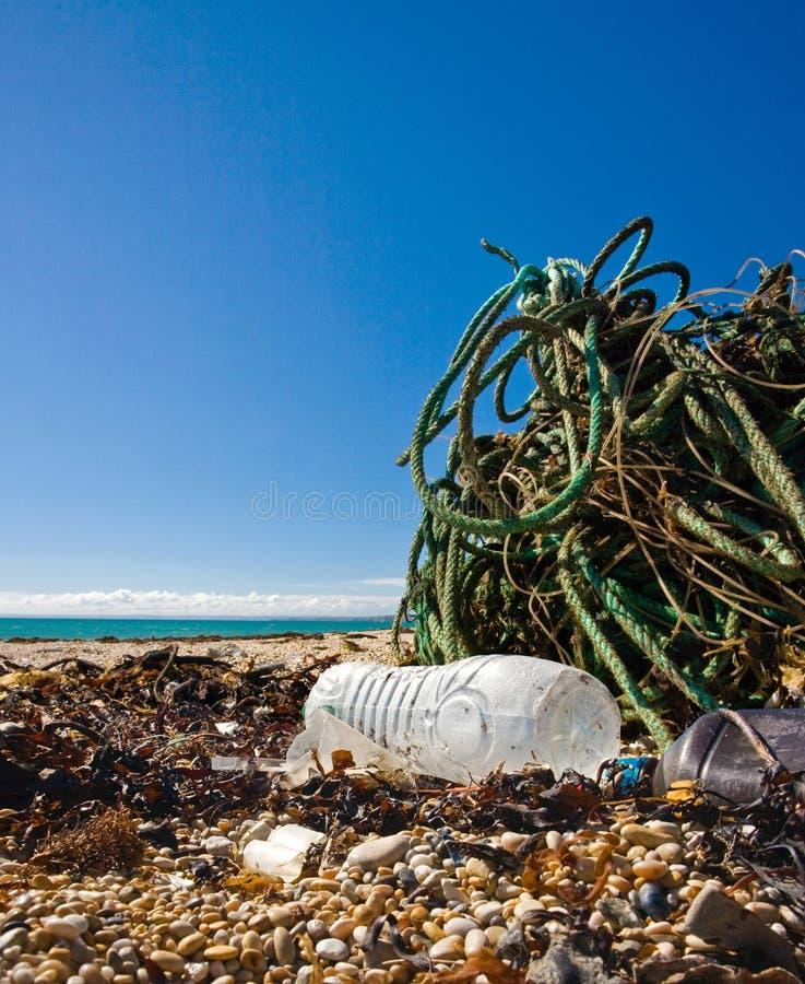 Beach trash royalty free stock image