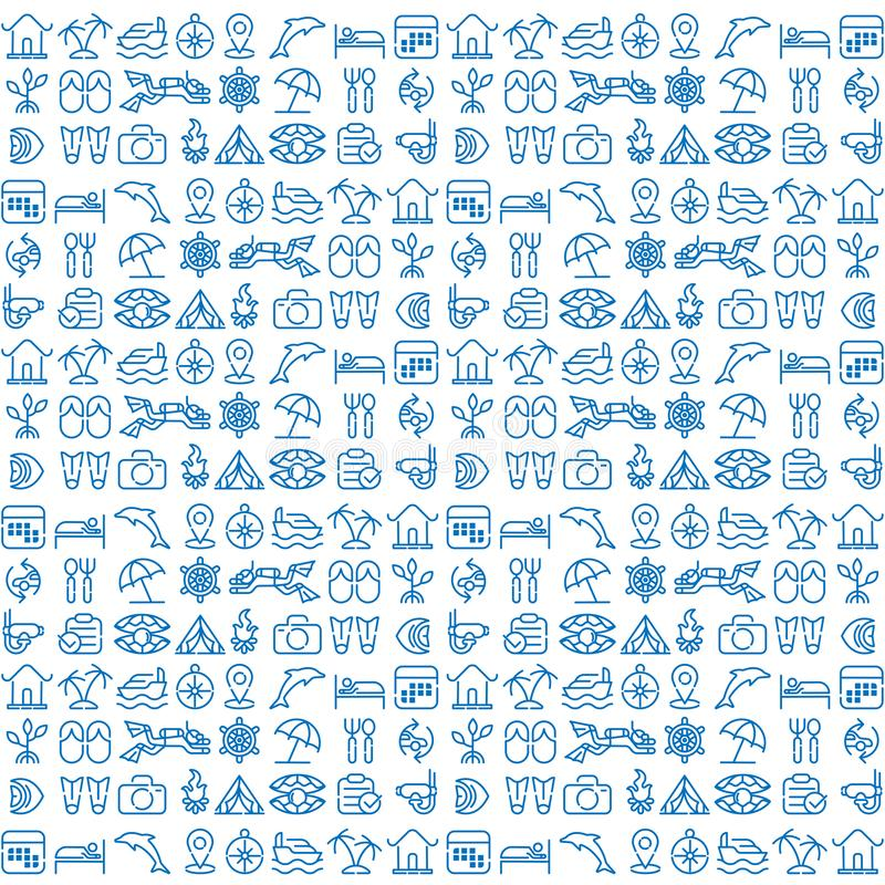 Beach travel pattern icon Logo illustration. Icons Set Outline Holiday, Tour and travel outline icon set vector. royalty free illustration