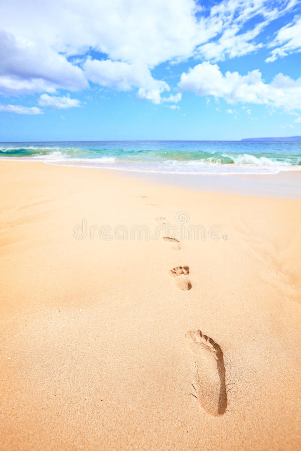 Download Beach Travel Vacation Concept - Footsteps In Sand Stock Image - Image: 29150785