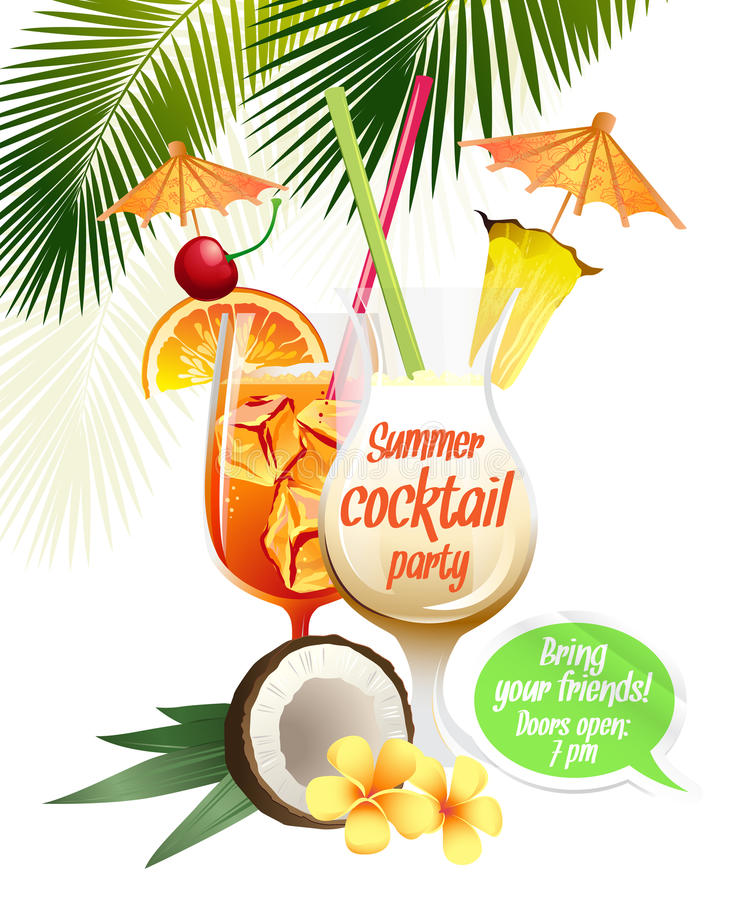 Beach tropical cocktails bahama mama and pina colada with garnish colorful poster. Vector illustration Beach tropical cocktails bahama mama and pina colada with royalty free illustration