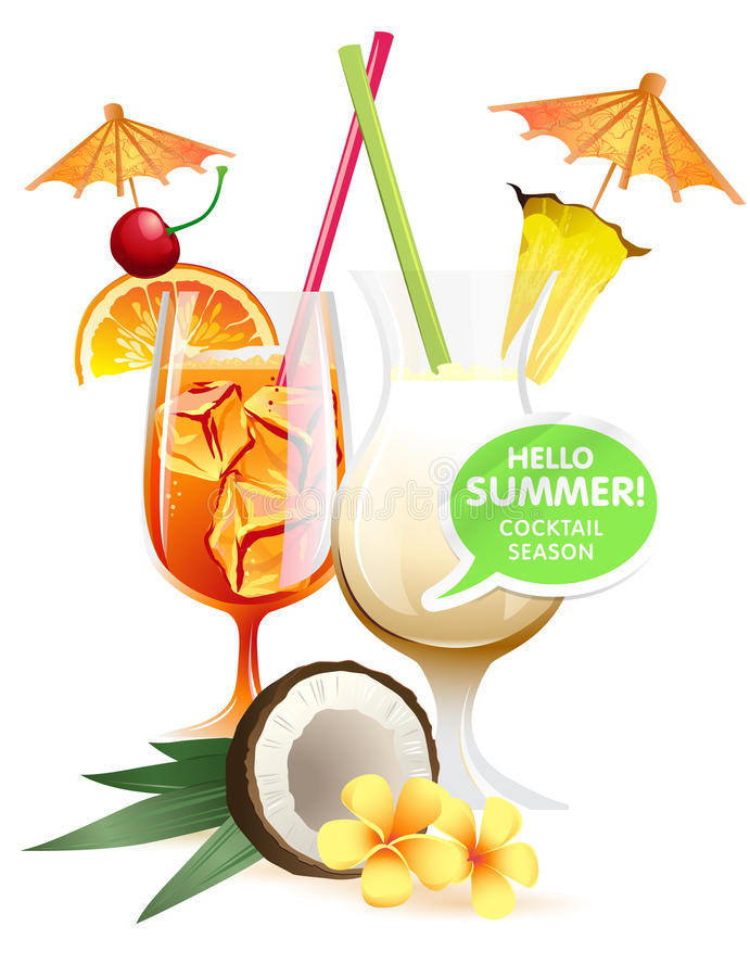 Beach tropical cocktails bahama mama and pina colada with garnish colorful poster. Vector illustration Beach tropical cocktails bahama mama and pina colada with vector illustration