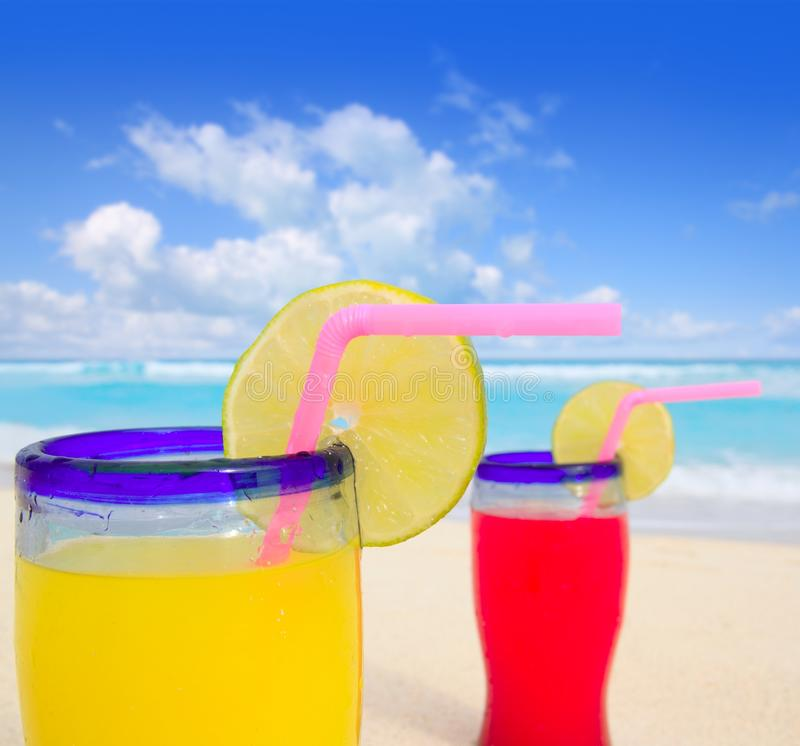 Download Beach Tropical Cocktails In Turquoise Beach Stock Photo - Image: 18606972