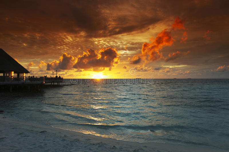 Download Beach And Tropical Houses On Sunset Stock Images - Image: 28633614