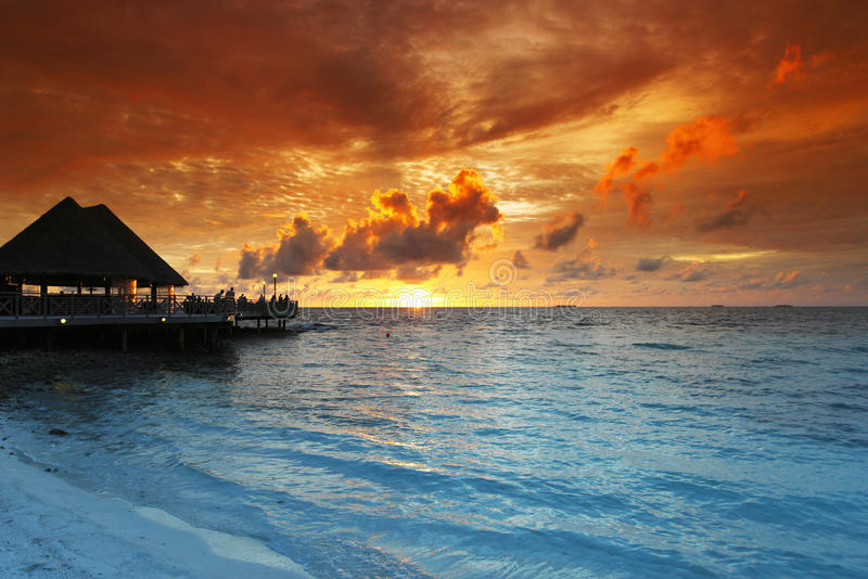 Download Beach And Tropical Houses On Sunset Stock Image - Image: 32434905