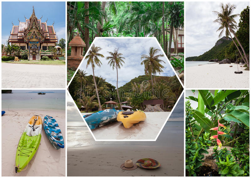 Beach on the tropical island. Thailand. Flowers. Collage. Beach on the tropical island at Thailand. Flowers. Collage stock images