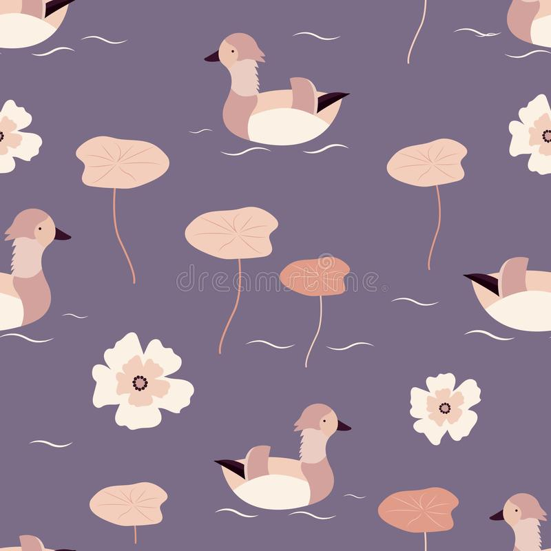 Beach tropical seamless pattern with mandarin ducks. And nympheas stock illustration
