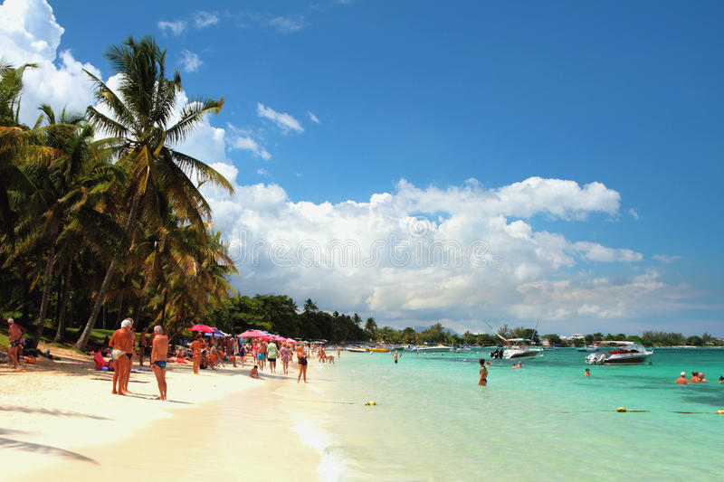 On beach of Trou aux Biches, Mauritius royalty free stock image