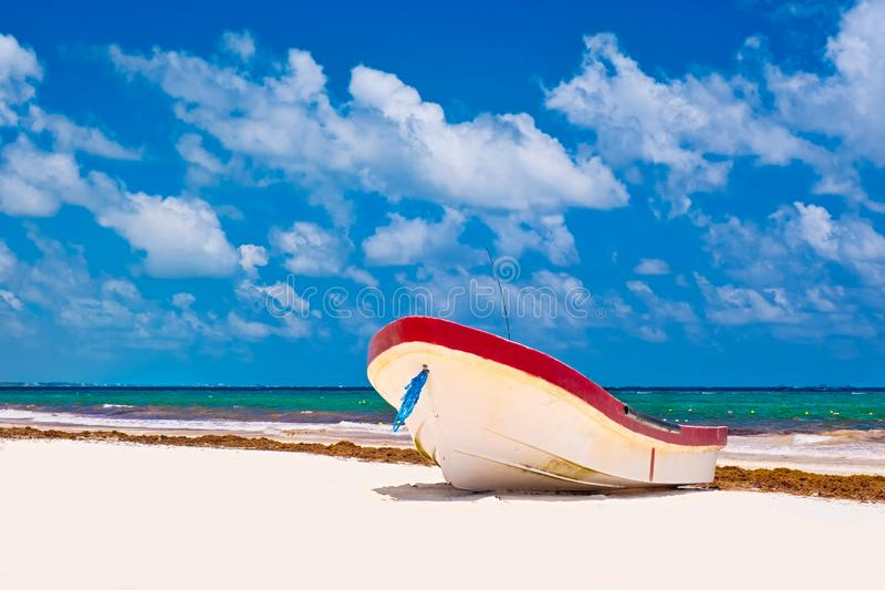The beach at Tulum on the Mayan Riviera in Mexico royalty free stock photo