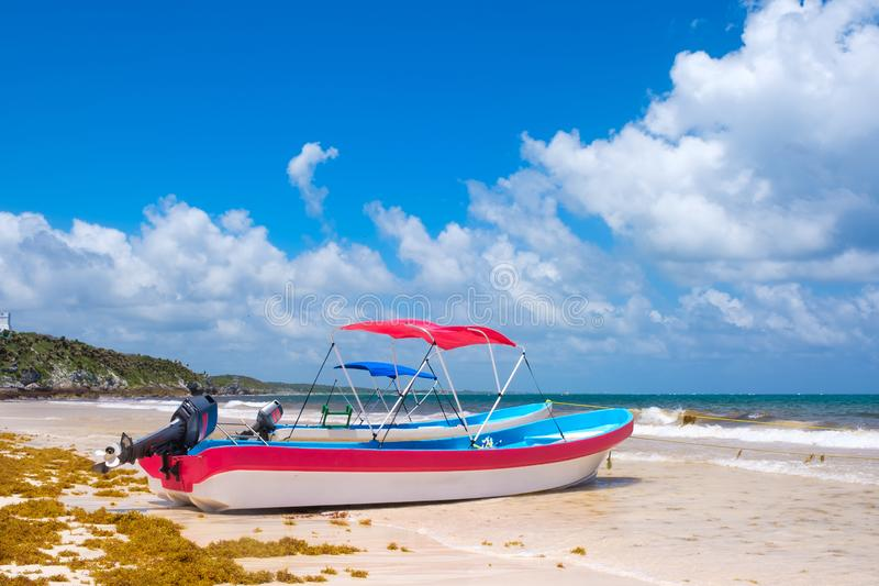 The beach at Tulum on the Mayan Riviera in Mexico stock image