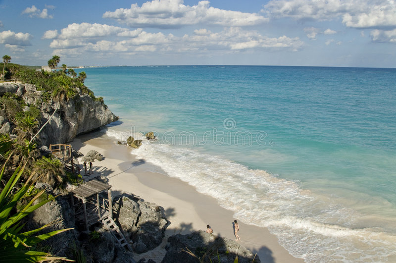 Beach in Tulum Mexico. View of a tropical beach on a sunny day...shot in Tulum, Mexico stock photo