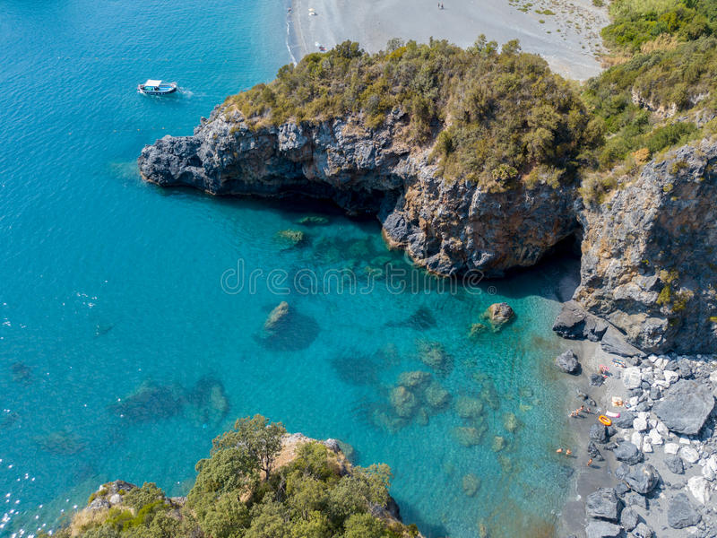 Beach and Tyrrhenian Sea, coves and promontories overlooking the sea. Italy. Aerial view, San Nicola Arcella, Calabria coastline royalty free stock photo
