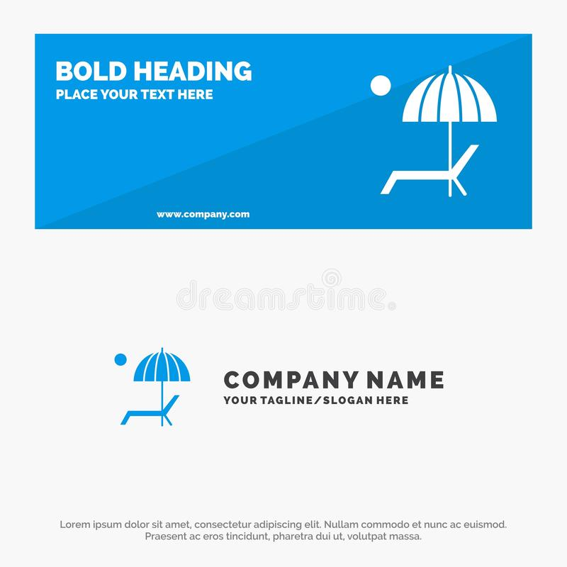 Beach, Umbrella, Bench, Enjoy, Summer SOlid Icon Website Banner and Business Logo Template vector illustration