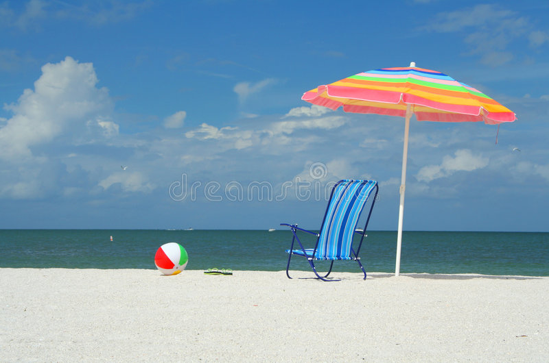 Download Beach Umbrella, Chair And Ball Stock Image - Image: 6303019