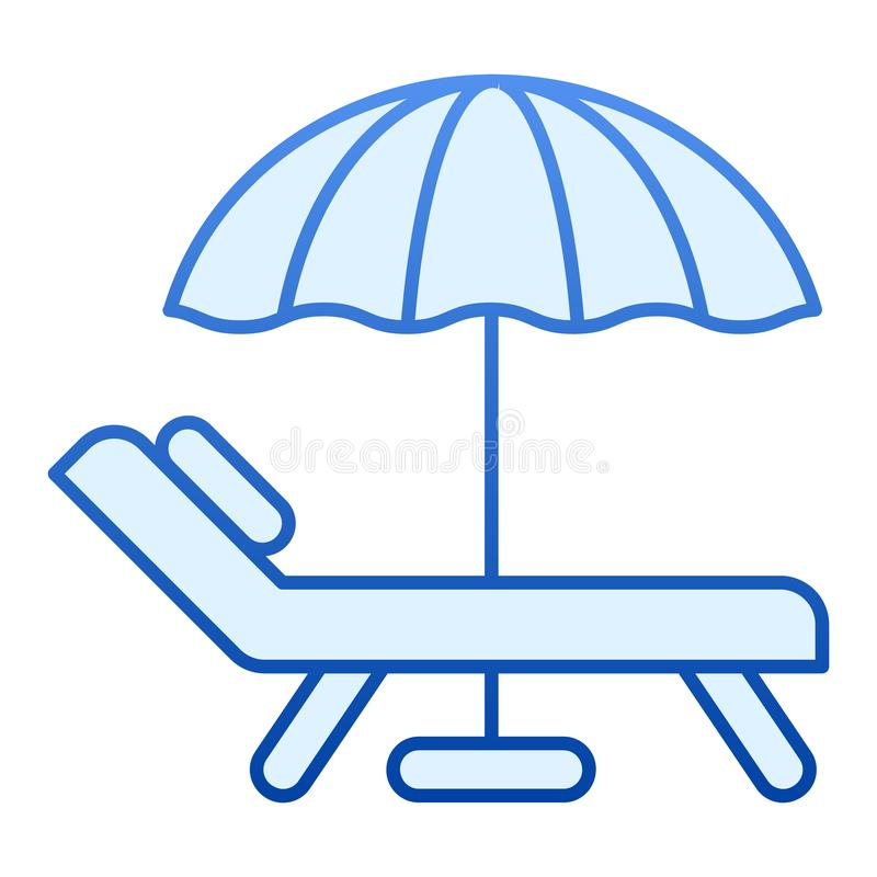 Beach umbrella and chair flat icon. Vacation blue icons in trendy flat style. Travel gradient style design, designed for stock illustration