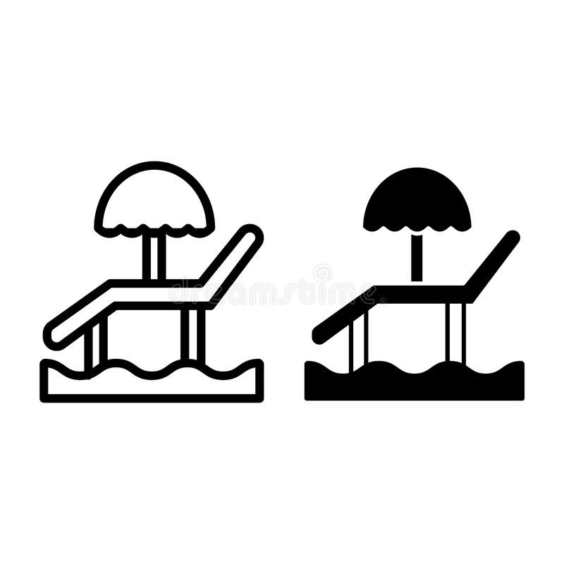 Beach umbrella and chair line and glyph icon. Sun lounger on the sand vector illustration isolated on white. Chaise vector illustration