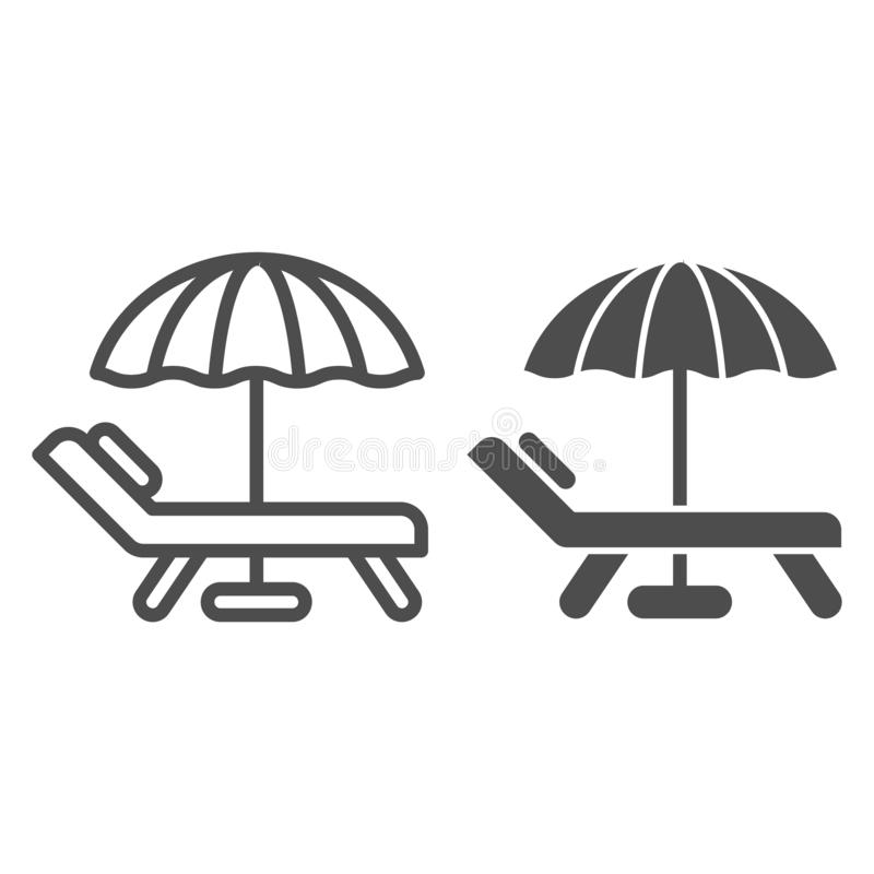 Beach umbrella and chair line and glyph icon. Vacation vector illustration isolated on white. Travel outline style vector illustration