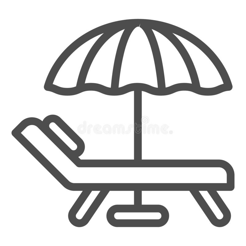Beach umbrella and chair line icon. Vacation vector illustration isolated on white. Travel outline style design vector illustration