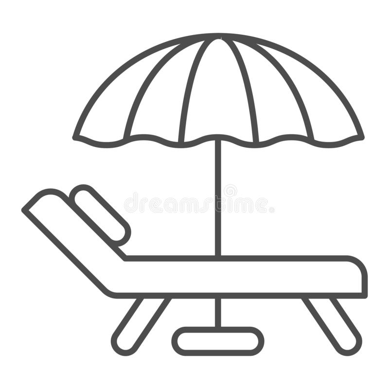 Beach umbrella and chair thin line icon. Vacation vector illustration isolated on white. Travel outline style design. Designed for web and app. Eps 10 vector illustration