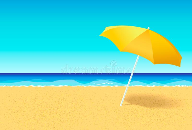 Beach umbrella on a deserted beach near ocean. Vacation flat vector concept. Empty beach without people with parasol and vector illustration