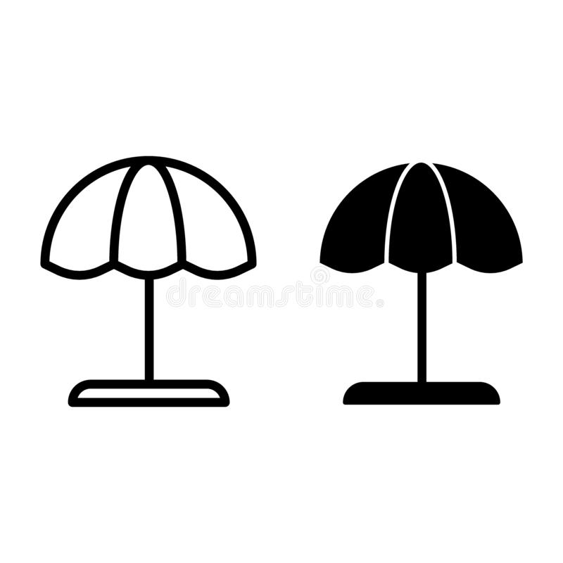 Beach umbrella line and glyph icon. Parasol vector illustration isolated on white. Vacation card outline style design vector illustration